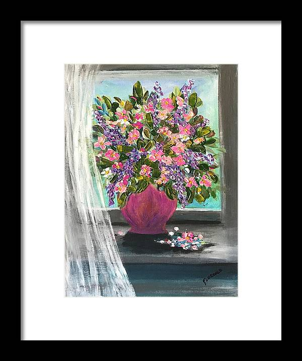 Flowers Framed Print featuring the painting Soaking In The Sun by Florence Ferrandino
