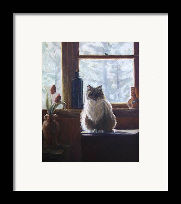 Pets Framed Print featuring the painting Soaking Up The Sun by Tahirih Goffic