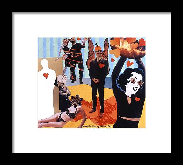 Hearts Framed Print featuring the drawing Soap Scene #18 Burn In Heaven At The Club Relish by Minaz Jantz
