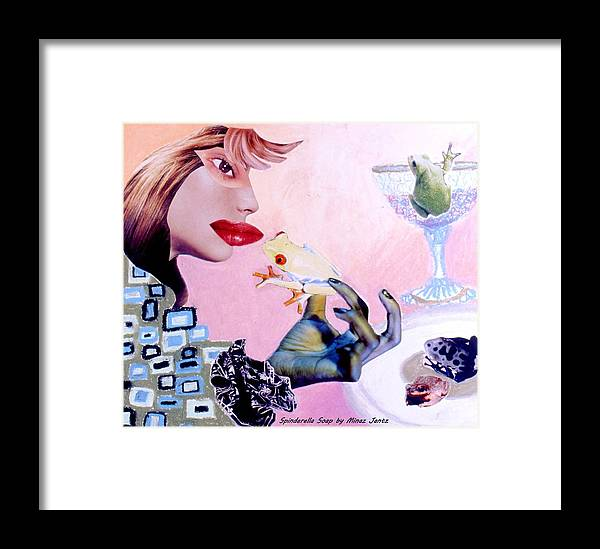 Frogs Framed Print featuring the drawing Soap Scene #6 Frogs Legs For Dinner by Minaz Jantz