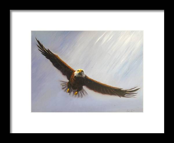 Oil Framed Print featuring the painting Soaring Eagle by Greg Neal