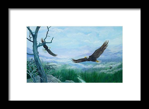 Eagles;birds;river Valley;mountains;sky; Framed Print featuring the painting Soaring by Lois Mountz