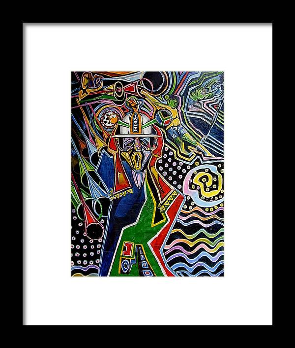 Soccer Framed Print featuring the painting Soccer Fans by Mawetu Janda
