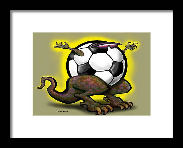 Soccer Framed Print featuring the digital art Soccer Saurus Rex by Kevin Middleton