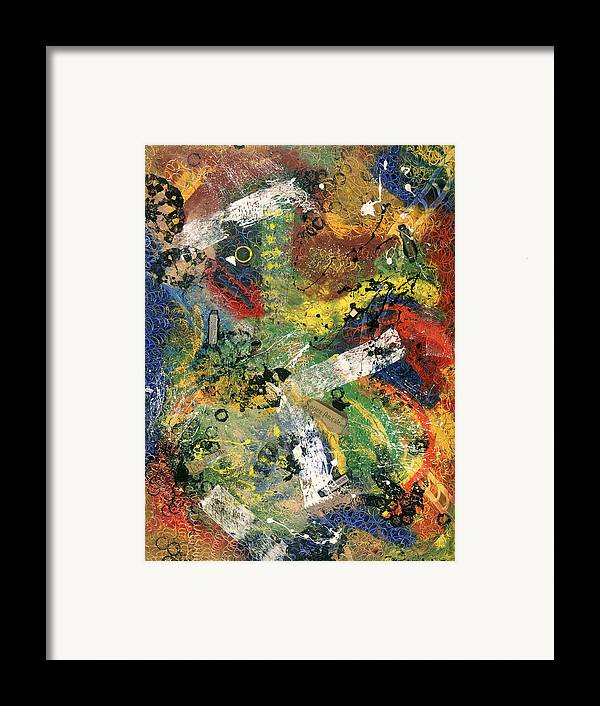 Abstract Framed Print featuring the painting Societe Amicale by Dominique Boutaud
