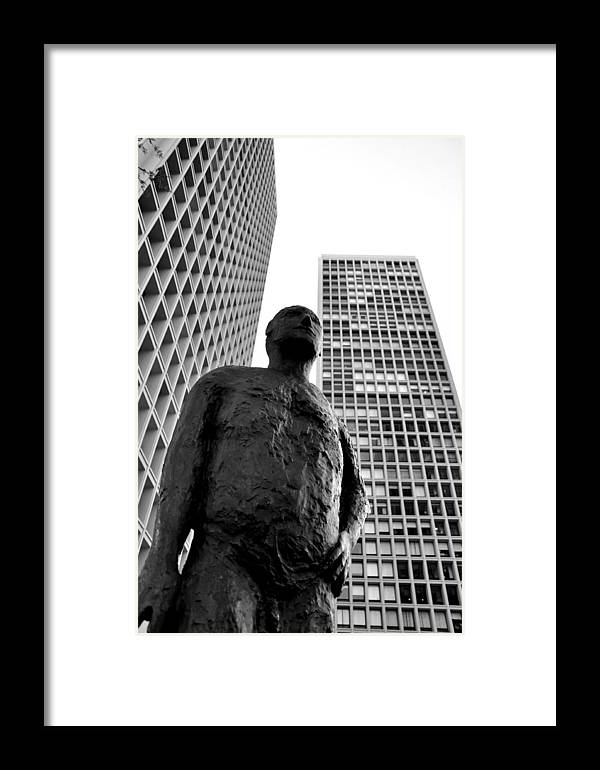 One Of The Three Society Hill Towers Designed My Im Pei In Philadelphia Framed Print featuring the photograph Society Man by Andrew Dinh