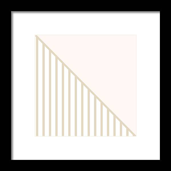 Blush Framed Print featuring the digital art Soft Blush And Champagne Stripe Triangles by Linda Woods