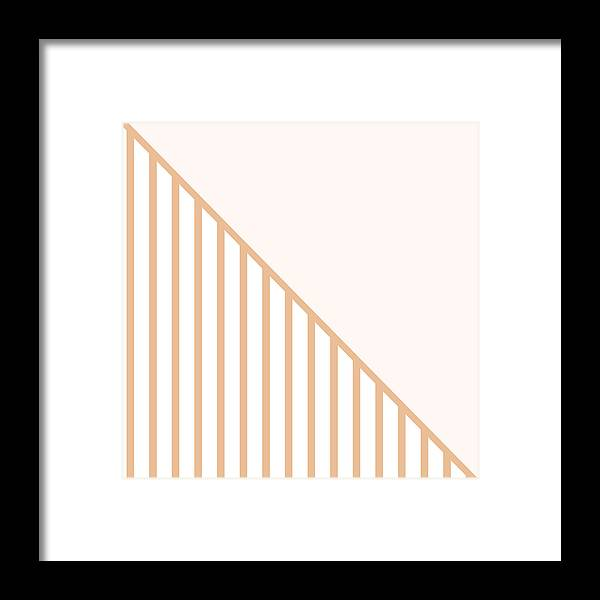 Pink Framed Print featuring the digital art Soft Blush and Coral Stripe Triangles by Linda Woods