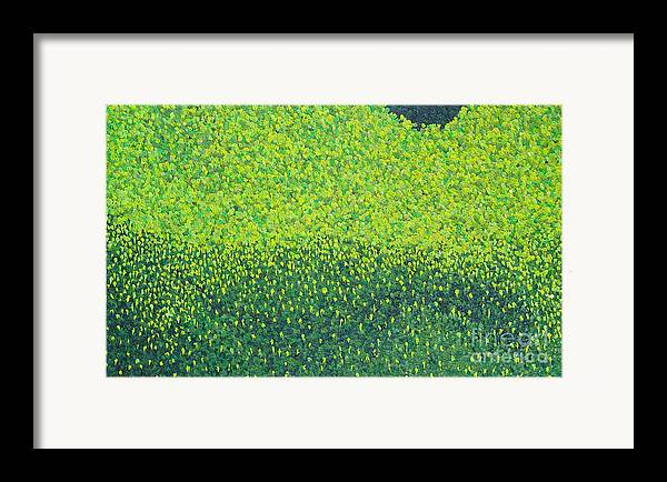 Abstract Framed Print featuring the painting Soft Green Wet Trees by Dean Triolo