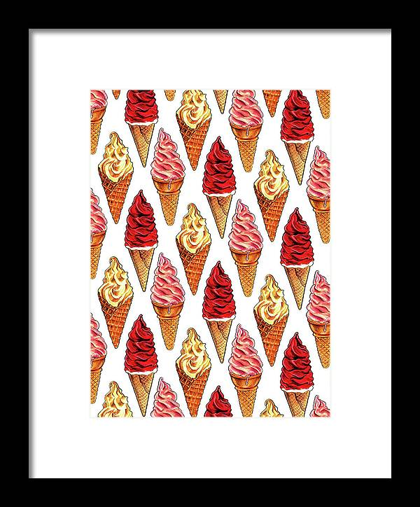 Ice Cream Framed Print featuring the painting Soft Serve Pattern by Kelly Gilleran