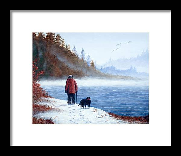 Landscape With Man And Dog Framed Print featuring the painting Sojourn by Michael Scherer