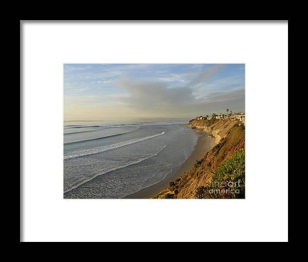 Photography Seascape Coastline Ocean Landscape Water Waves Framed Print featuring the photograph Solana Beach Coastline by Loretta Orr