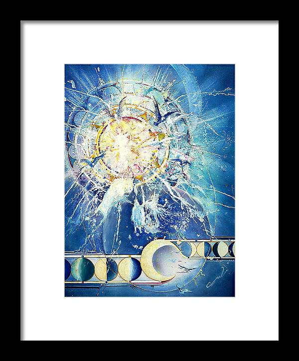 Solar Eclipse Framed Print featuring the painting Solar Eclipse Spirits by Connie Williams