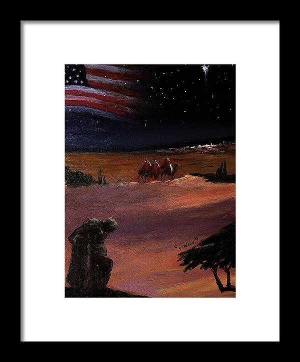 Soldier Framed Print featuring the painting Soldier And Wise Men On The First Christmas by Glenn Ledford