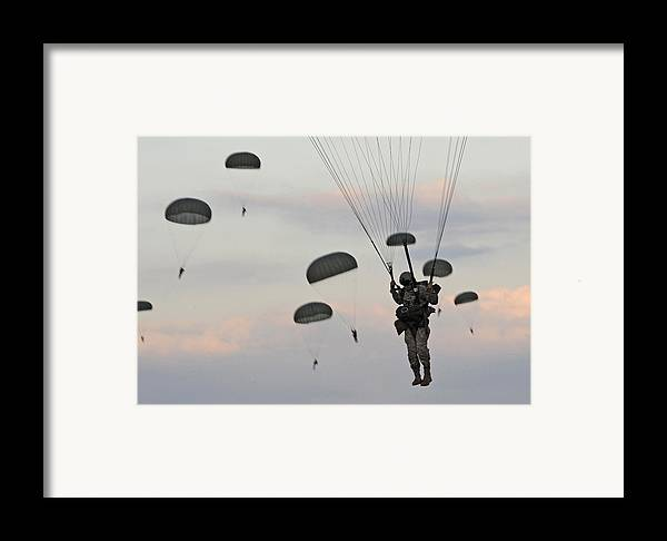 History Framed Print featuring the photograph Soldiers Of The 82nd Airborne Descend by Everett