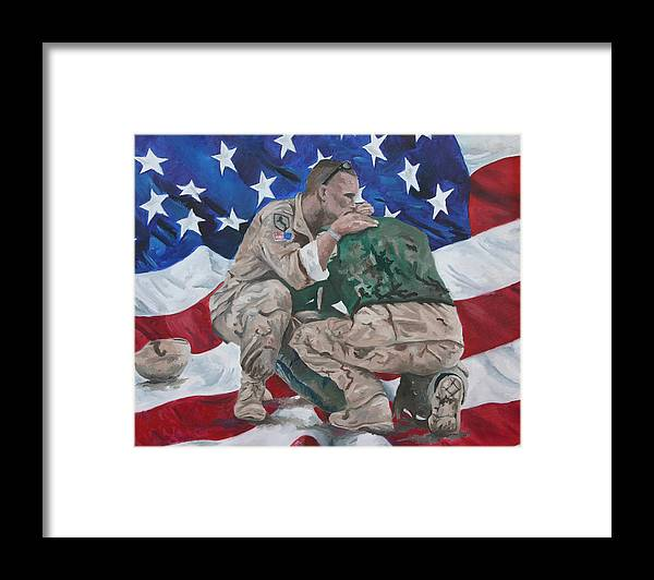 Soldiers Framed Print featuring the painting Soldiers by Travis Day