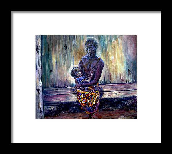 Baby Painting Framed Print featuring the painting Solemn Momemts by Tommy Winn