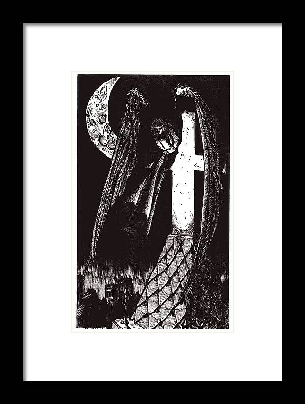 Angel Framed Print featuring the drawing Solemn Vigil by Tobey Anderson