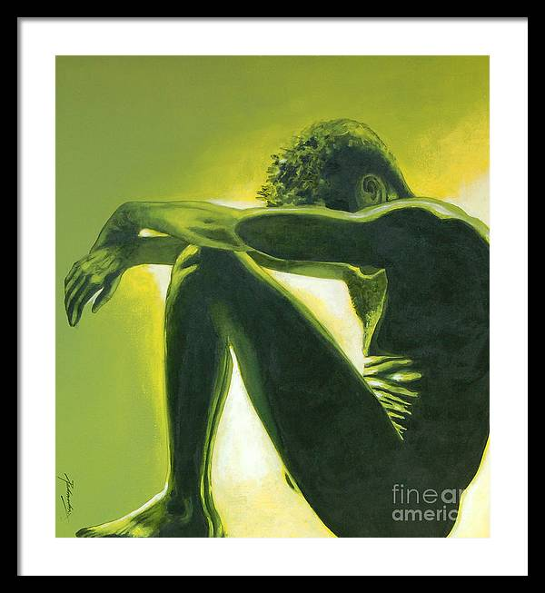 Figurative Framed Print featuring the painting Soliloquy by Padmakar Kappagantula