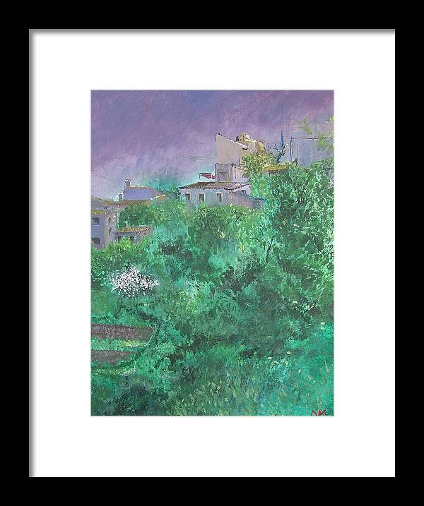 Impressionist Framed Print featuring the painting Solitary Almond Tree In Blossom Mallorcan Valley by Lizzy Forrester