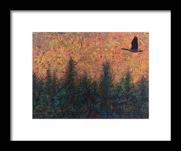 Goose Framed Print featuring the painting Solitary Goose by James W Johnson