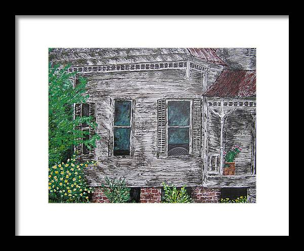 House Framed Print featuring the painting Solitude Awaits by Ricklene Wren