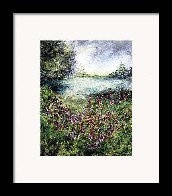 Landscape Framed Print featuring the painting Solitude In Blue And Green by Laura Swink
