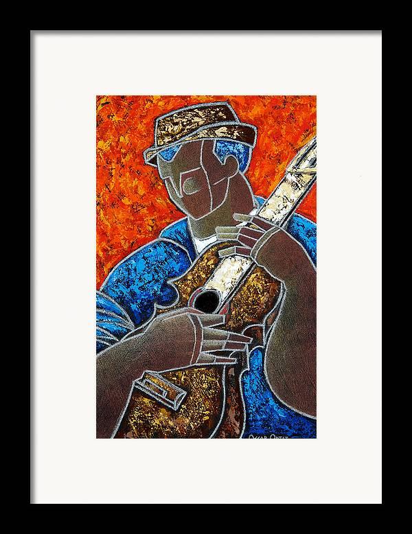 Puerto Rico Framed Print featuring the painting Solo De Cuatro by Oscar Ortiz
