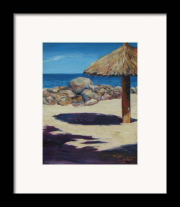 Ocean Framed Print featuring the painting Solo Palapa by Karen Doyle