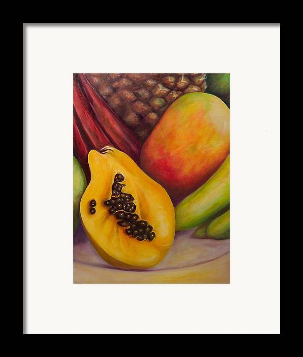 Tropical Fruit Still Life: Mangoes Framed Print featuring the painting Solo by Shannon Grissom