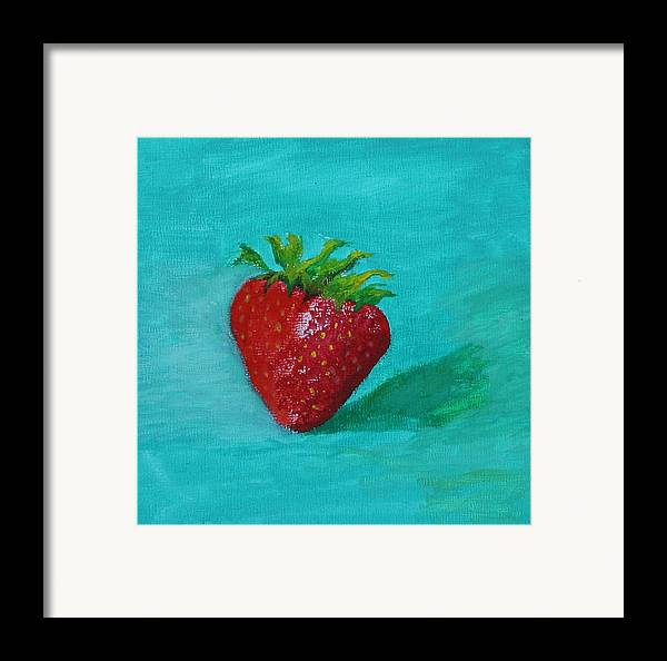 Still Life Framed Print featuring the painting Solo Strawberry by RF Hauver
