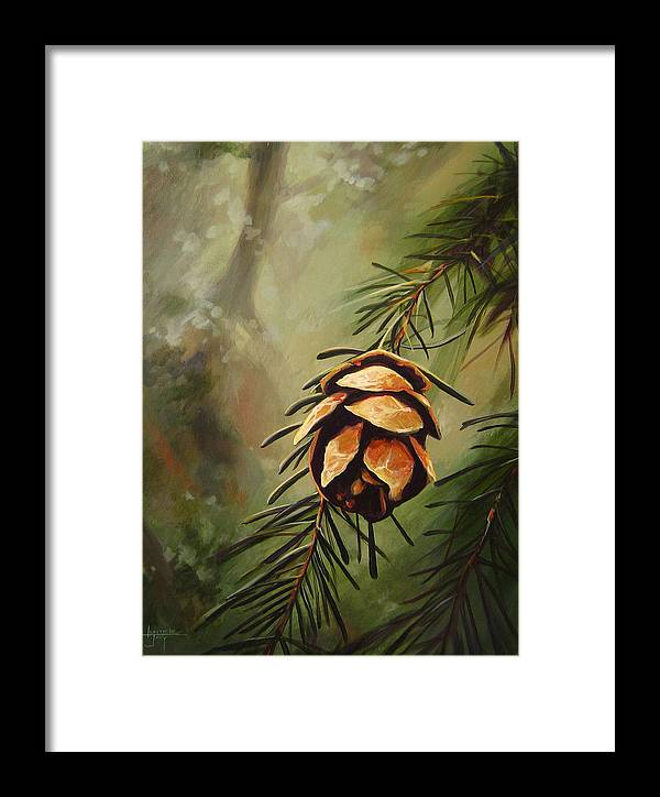 Closeup Of Spruce Cone Framed Print featuring the painting Solstice by Hunter Jay