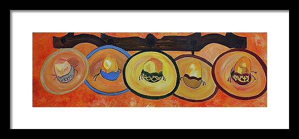 Still Life Framed Print featuring the painting Sombreros by Dorota Nowak