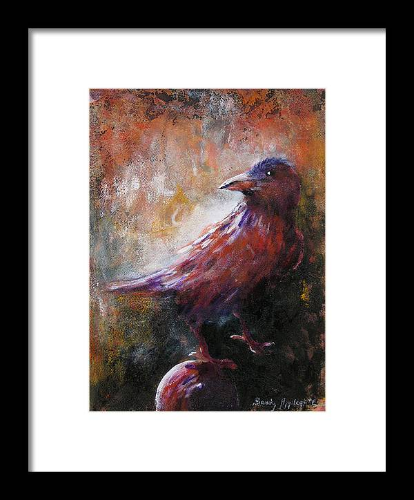 Raven Framed Print featuring the painting Some Late Visitor by Sandy Applegate