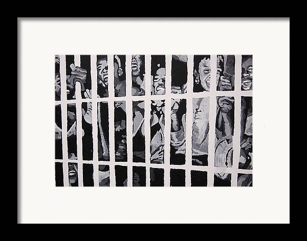 Civil Rights Framed Print featuring the painting Some Of The 210 Demonstrators Jailed Wave From Their Cell 1964 by Lauren Luna