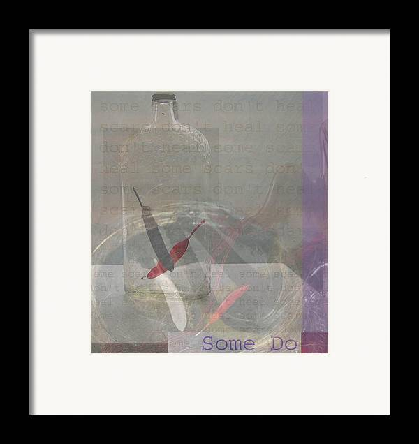 Feathers Suspended By Spider Webs Framed Print featuring the painting Some Scars Don't Heal by Sherry Leigh Williams