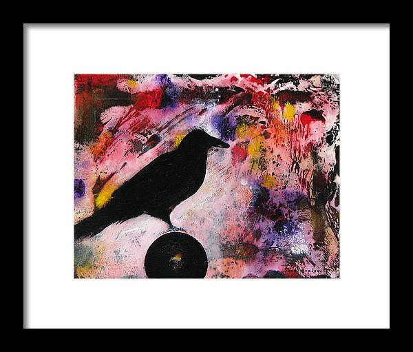 Raven Framed Print featuring the painting Something At My Window Lattice by Sandy Applegate
