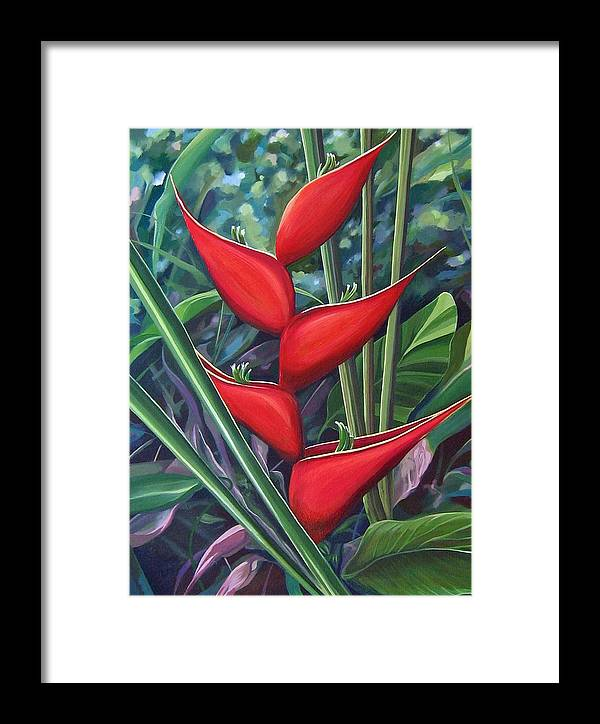 Heliconia Framed Print featuring the painting Something In Red by Hunter Jay