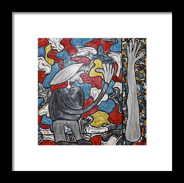 Parts Framed Print featuring the painting Sometimes I Feel I'm Loosing Part Of Myself by Mario MJ Perron