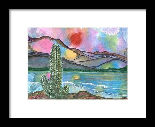 Sunset Framed Print featuring the painting Somewhere South by Laura Johnson
