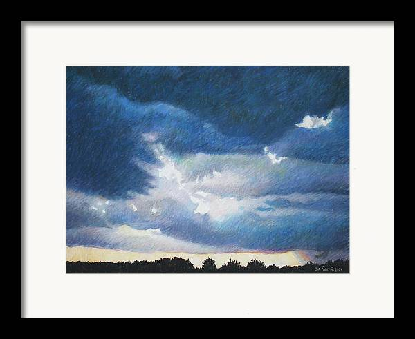 Cloudscape Framed Print featuring the painting Somewhere The Sun Is Shining by Gainor Roberts