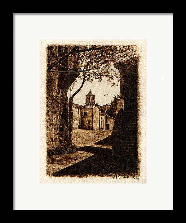 Dino Muradian Framed Print featuring the pyrography Somewhere'n Toscana by Dino Muradian