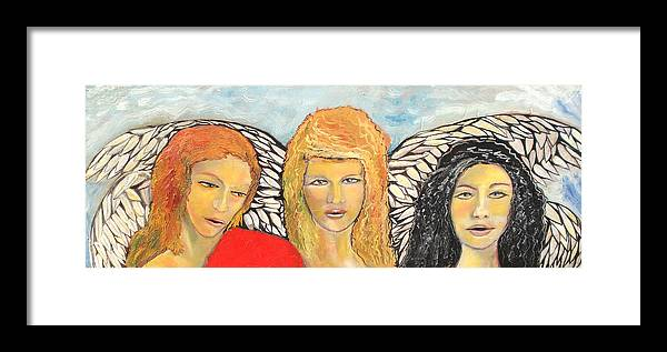Angels Framed Print featuring the painting Song of the Sisters by J Bauer