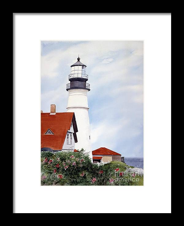 The Portland Head Light Is One Of Four Lighthouses President George Washington Appropriated The Funds To Build. An Iconic Image Framed Print featuring the painting Song Sparrows by Monte Toon