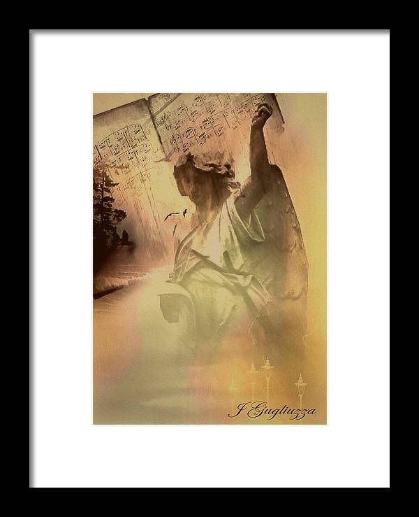 Angel Framed Print featuring the digital art Songs Of Angels by Jean Gugliuzza