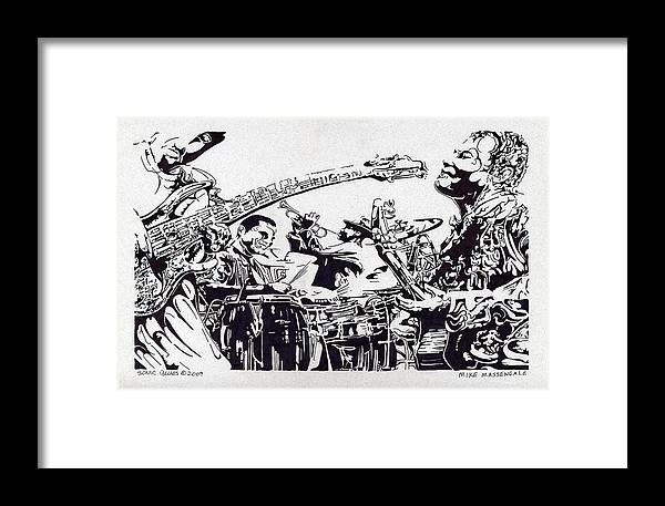 Black And White Framed Print featuring the drawing Sonic Blues by Mike Massengale