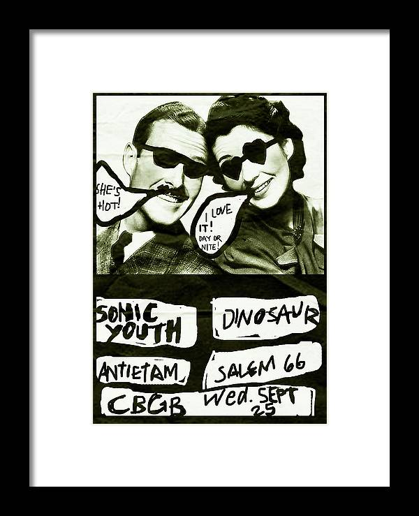 Sonic Youth Framed Print featuring the mixed media Sonic Youth N Y C 1985 by Enki Art
