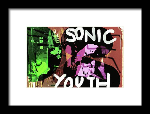 Sonic Youth Framed Print featuring the mixed media Sonic Youth Poster by Enki Art
