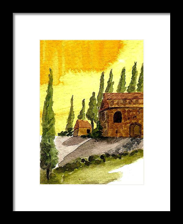Original Art Framed Print featuring the painting Sonoma Hillside In Fall by K Hoover