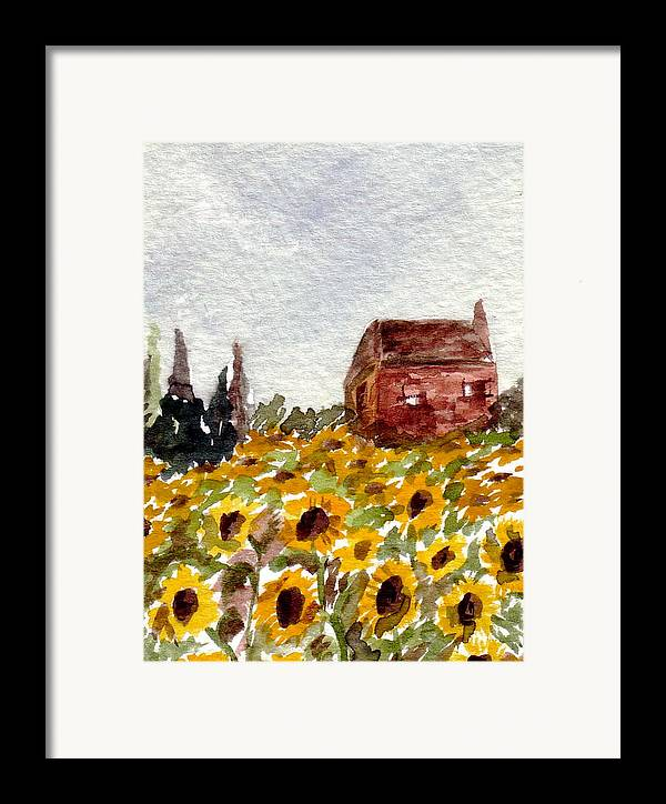 Original Art Framed Print featuring the painting Sonoma Hillside Series Sunflowers by K Hoover
